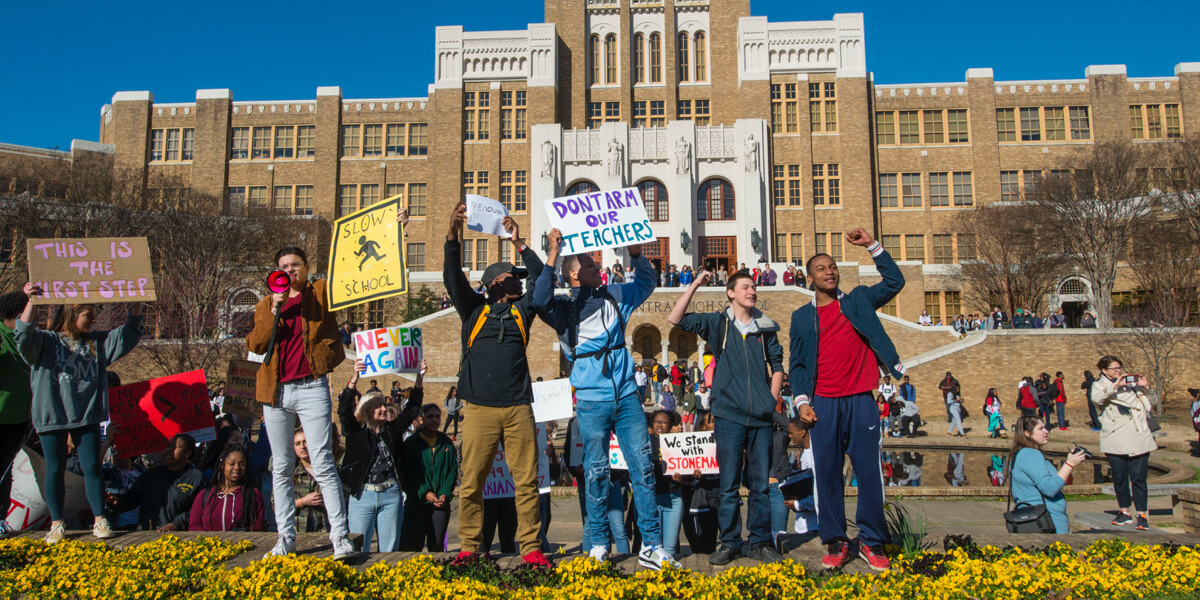 Students protest at Central High in Little Rock.